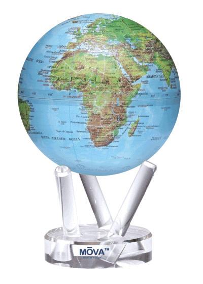 Mova Spinning Globe Solar Power Blue Green Earth Free Shipping